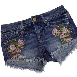 3/$30 AEO denim floral embroidered denim shorts
